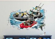 Lego City Boat Police Rescue Custom Wall Decals 3d Wall Stickers Art Ls32
