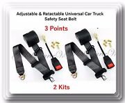 2 Kits Universal Strap Retractable And Adjustable Safety Seat Belt Black 3 Point