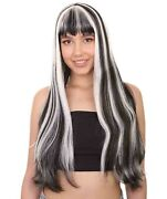 Black White Two Toned Long Wig For Cosplay Monster High Frankie Stein Hw-1869