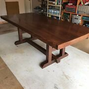 Farmhouse Wood Table Dining 8ft H-frame Design Seats 8