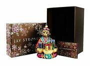 Jay Strongwater Jubilee Monkey With Gifts Glass Christmas Ornament New Box