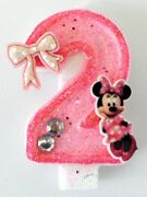 Minnie Mouse Birthday Candle. Mickey Mouse Candle Cake Topper, Cupcake Topper