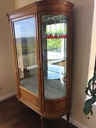 Antique Curved Glass,, Glass Shelves And Mirrored Back Display China And Crystal