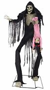 Animated Halloween Prop Lifesize 7and039 Towering Boogey Man Scary Skeleton And Child