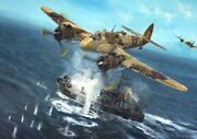 Original Ww2 Military Aviation Art Painting Beaufighters Vs Axis Shipping Wwii