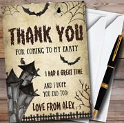 Vintage Haunted House Personalised Halloween Party Thank You Cards