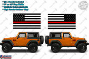 2 Us Thin Red Line Flag Vinyl Decal Fire Fighter America Fits Jeep Wrangler Cj