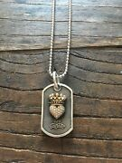 King Baby Studio Diamond Crowned Heart Dog Tag Pendant And Necklace