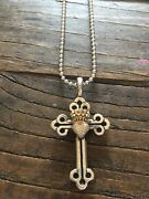 King Baby Studio Queen Baby Diamond Crowned Heart Cross Pendant And Necklace