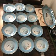 Fish Set Of Haviland France Limoges B.albert Hand-painted Tray And Plates
