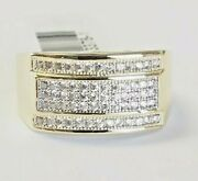 0.89 Tcw Mens Diamond Cluster Fashion Ring 10k Solid Yellow Gold Size 9 G-h Si1