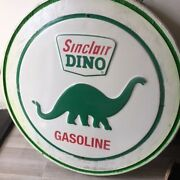 Dino Gas Sign 30 Installed On Heavy Old Circular Wood Back--heavy For Barn