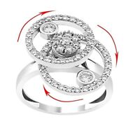 Hand Made Motion Ring 925 Solid Silver 2 Level Spinner Rhythmic Swinging Ring