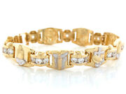 10k Or 14k Two Tone Gold White Cz Jesus And Praying Hands Religious Bracelet
