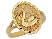 10k Or 14k Yellow Gold Cute Adorable Oval Shaped Swan Ring