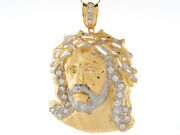 10k Or 14k Two-tone Gold Round Cut White Cz Bust Of Jesus Religious Pendant