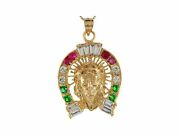 10k Or 14k Yellow Gold Multiple Color Cz Jesus Crown Of Thorns Horseshoe Pendant