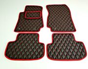 Leather Car Floor Mats Fit Chevrolet Camaro 2010-2015 Black And Red Fully Tailored