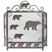 A Colony Of Brown Bear Fireplace Screen Three Panel Foldable - Metal Mesh Style