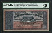 Nf-8c 50andcent Govand039t Cash Note Nfld St. Johns Pmg 30 Vf Very High Quality Wlm4420