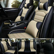Car Seat Cover Pu Leather 5 Sits Cushion Protector Front+rear Set Beige W/pillow