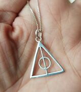 Sterling Silver Deathly Hallows Pendant Necklace Harry Potter 925 - Chain Boxed