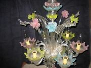 Murano Antique Italian Venetian Chandelier C1900 Leaves And Flowers Pastel 6 Arms
