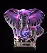 Engraved Lead Crystal Elephant Mom And Child On Led Color Light Base