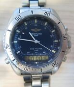 Vintage Breitling New Pluton Early 90and039s A51037 Digital/analog Menand039s Watch Blue