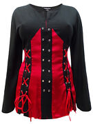 Bnwt Eaonplus Red - Black Pirate Queen Goth Grommet Blouse - Plus Size 26 28