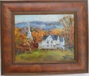 Califonn.j. Landscape With Houses And Church Oil Painting-1988-frank Zuccarelli