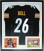 Leand039veon Bell Autographed Authentic Steelers Jersey Jsa Coa Custom Framed And 8x10