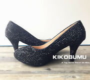 Bling Black Sparkle Crystal Low High Heels Club Party Ball Pump Platform Shoes.