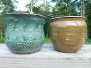 AMERICAN SCULPTOR/POTTER~ERIC NEWMAN~HANDMADE CLAY FOLK ART POTTERY SIGNED VASES