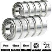 10x Ss6203-zz Ball Bearing 17mm X 40mm X 12mm Metal Sealed Stainless Steel New