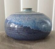 "Hand Thrown Blue Studio Art Pottery Vase - Signed ATKIN 3 3/4"" wide"