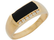 10k Or 14k Yellow Gold Classic Design Onyx And Genuine Diamonds Accented Mens Ring