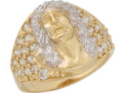 10k Or 14k Two-tone Gold White Cz Jesus Wide Band Religious Mens Ring