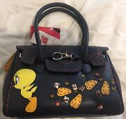 New Outrageous Tweety Bird Authentic Braccialini Navy Leather Bag Red Stitching