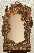 Unique Game Of Thrones Wooden Wall Mirror Antique Gold Paint Carved On Oak