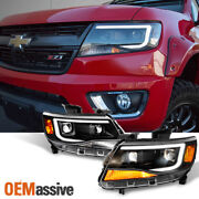 Fits [black] 2015-2021 Chevy Colorado Led Drl Dual Square Projector Headlights