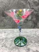 New Rare Lolita Love My Martini Hand Painted Glass Jump Up And Kiss Me Frog Lips