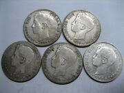 1896 /99/00/01/02 Spain 1 Peseta Alfonso Xiii Lot 5 Differents Coins Silver .