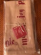 Pottery Barn Holiday Napkins Jingle Sentiment ,nwt In Package, Set Of 4