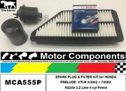 Spark Plug And Filter Kit For Honda Prelude Vti-r H22a4 2.2l 2/027/02