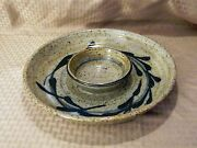 Art Pottery Stoneware Chip and Dip