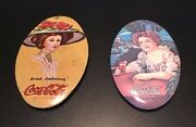 Drink Coca-cola Oval Pocket Mirrors Elaine Girl Collectible 1973 Set Of 2
