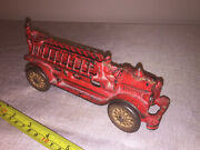 A C Williams Cast Iron Ladder Truck Fire Engine W/ Driver Large 7.5 Hubley