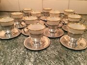 Vintage Set Of 12 Sterling Silver Espresso Cups And Saucers No Monogram