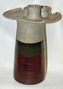 Vintage Studio Art Pottery Stoneware Brown Mid Century Modern Candle Holder